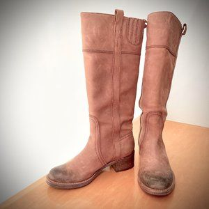 Halogen Distressed Leather Riding Boot